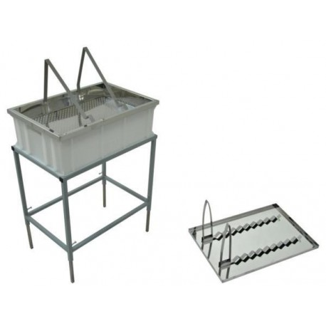 Uncapping table withstand and stainless strainer, dual-function